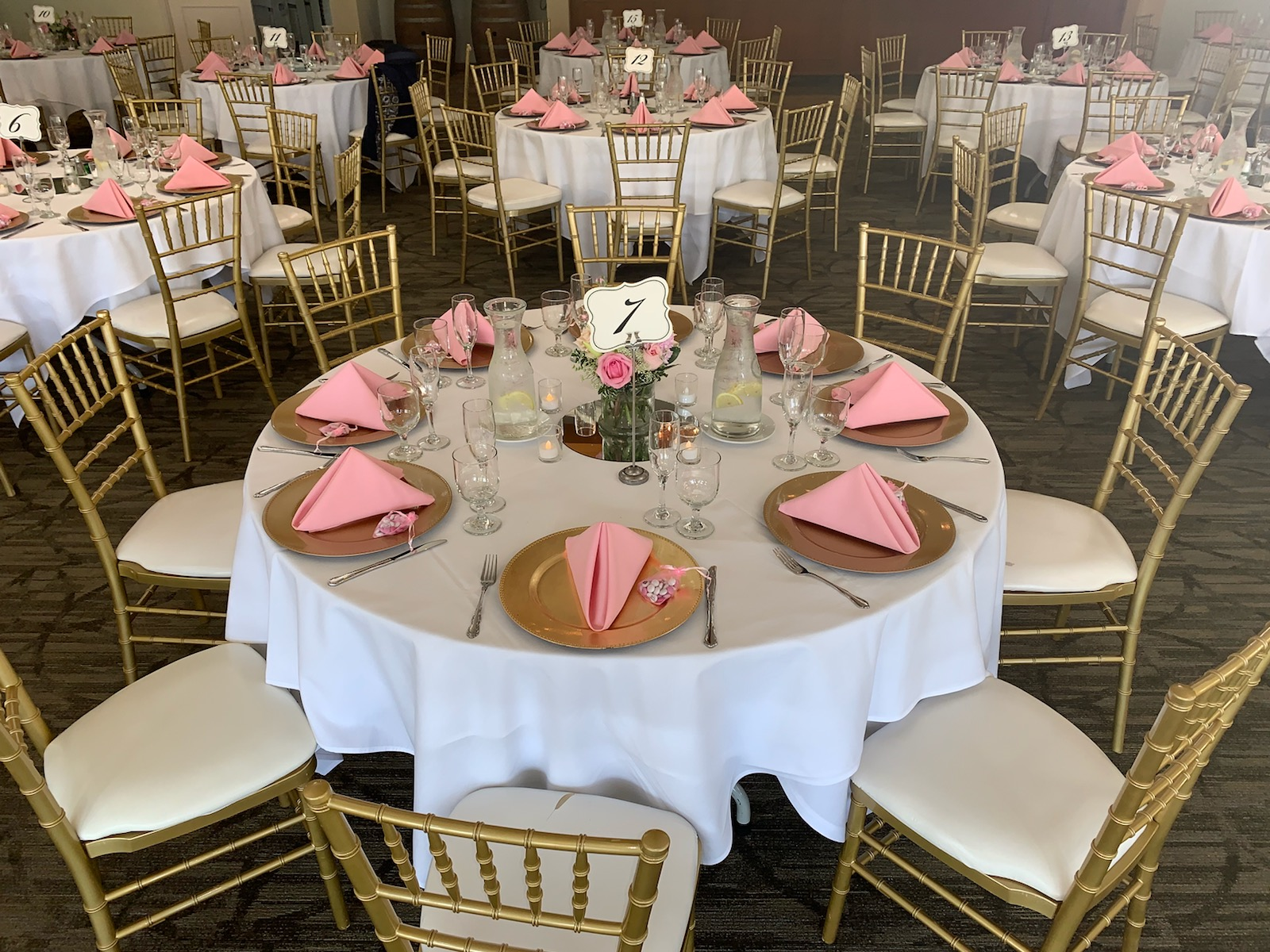 White Pink Wedding with Gold Chiavari Chairs Gold Chargers