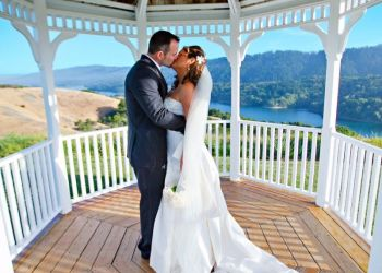 Bride And Groom Gazebo Kiss